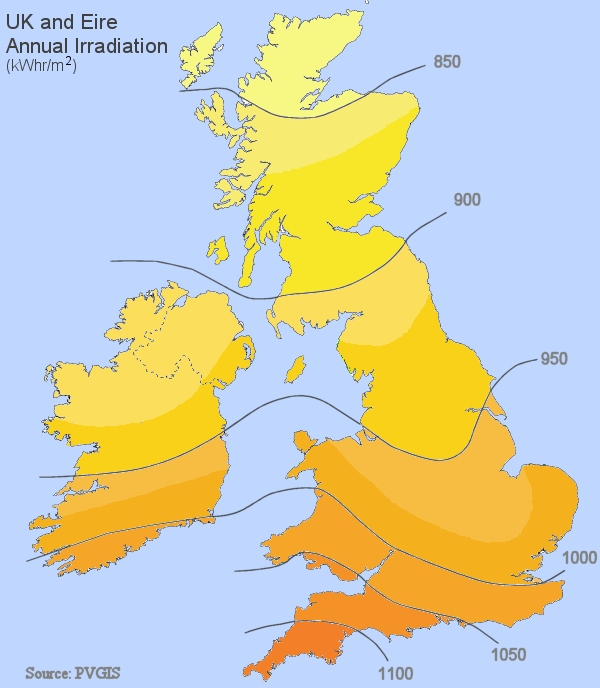 map of solar energy in UK and Ireland