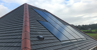solar panels roof integrated with corners missing